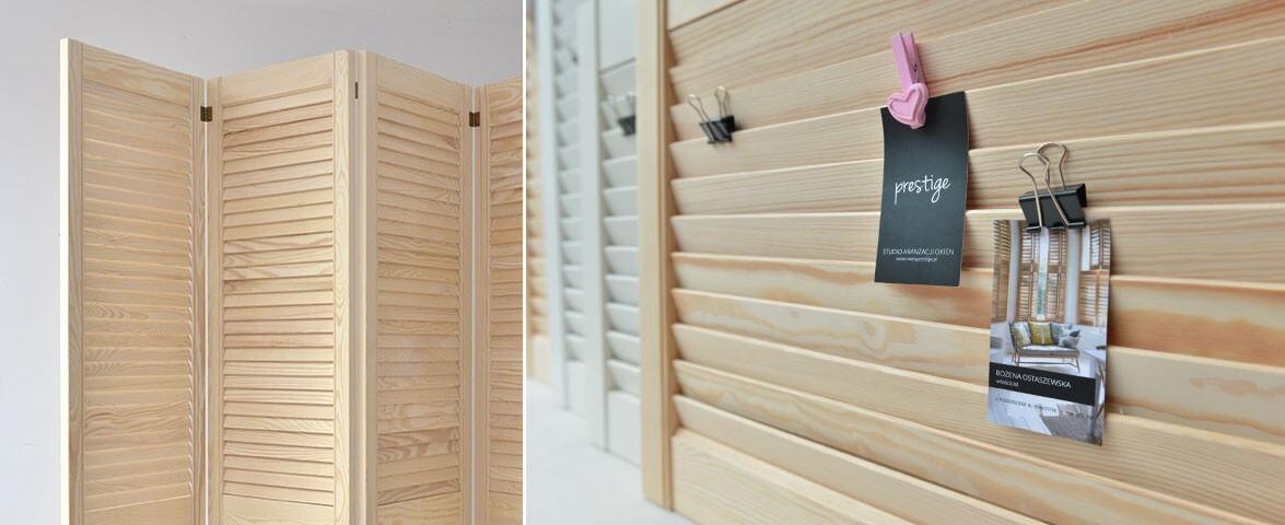 Parawan drewniany sosnowy z drzwiczek ażurowych